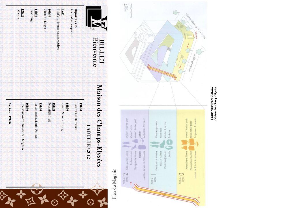 BILLET Bienvenue 1 ADULTE / 2012 Départ : 9h15 Accueil par un parrain 9h45 Brief et présentation aux équipes 10h00 Visite du Magasin 11h30 Grooming 12