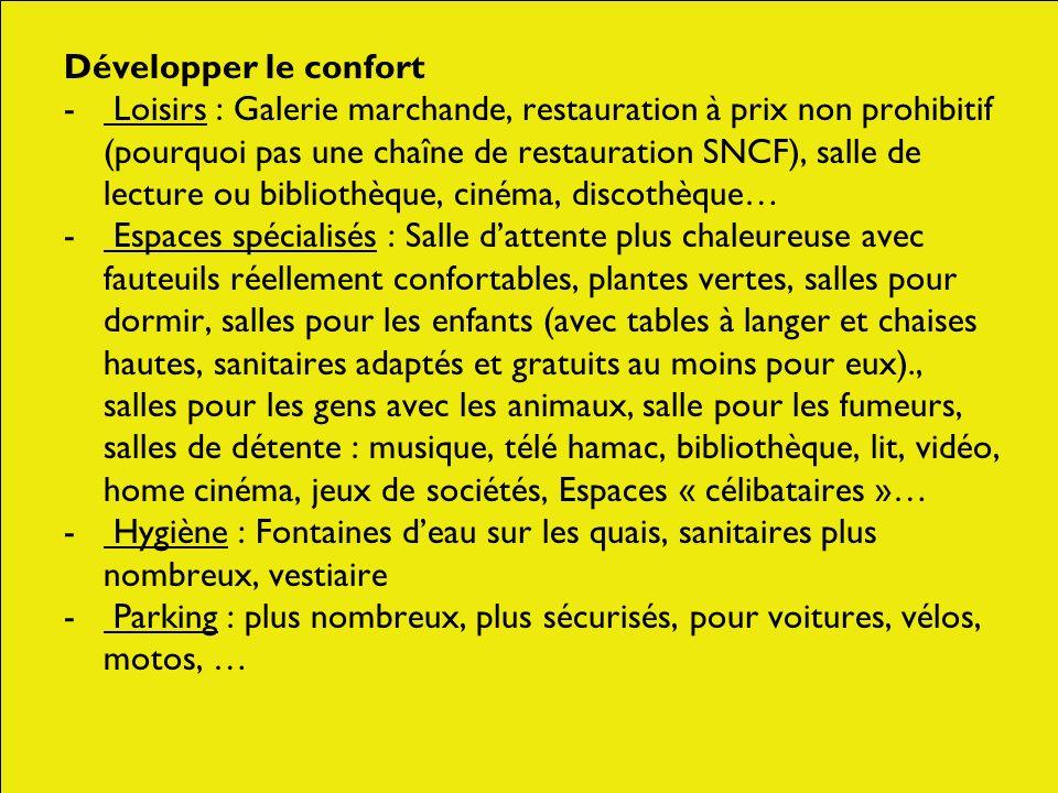 Développer le confort - Loisirs : Galerie marchande, restauration à prix non prohibitif (pourquoi pas une chaîne de restauration SNCF), salle de lectu