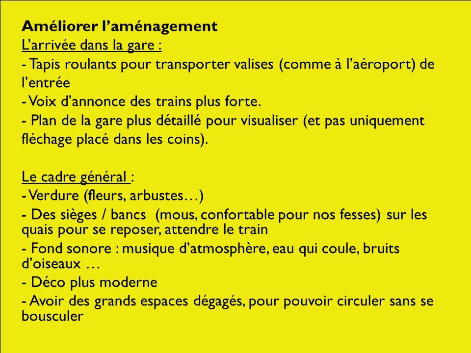 Améliorer laménagement Larrivée dans la gare : - Tapis roulants pour transporter valises (comme à laéroport) de lentrée - Voix dannonce des trains plu