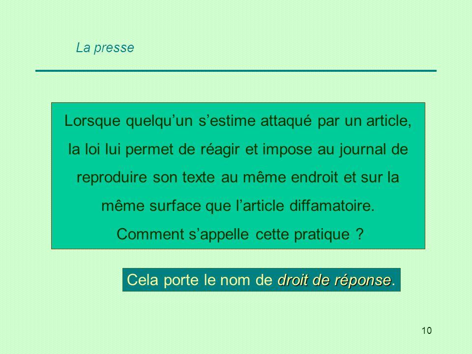 10 La presse Lorsque quelquun sestime attaqué par un article, la loi lui permet de réagir et impose au journal de reproduire son texte au même endroit