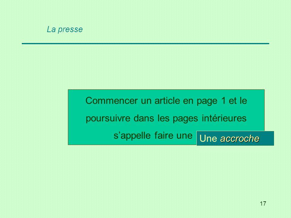 17 Commencer un article en page 1 et le poursuivre dans les pages intérieures sappelle faire une … ? accroche Une accroche La presse