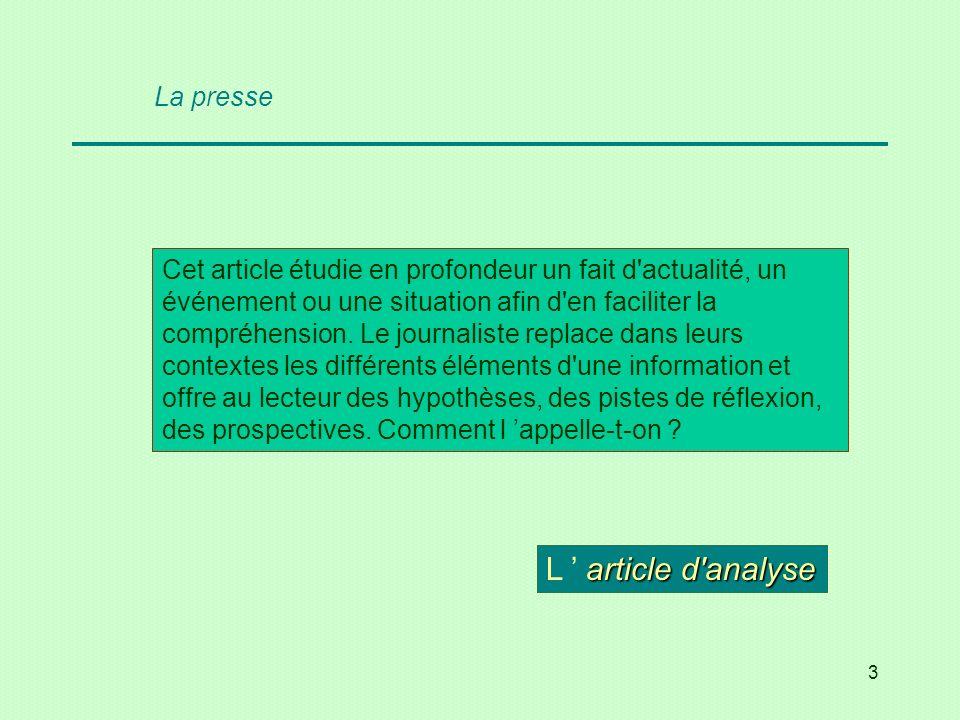 4 Cite les questions fondamentales qui organisent la rédaction dun article informatif.