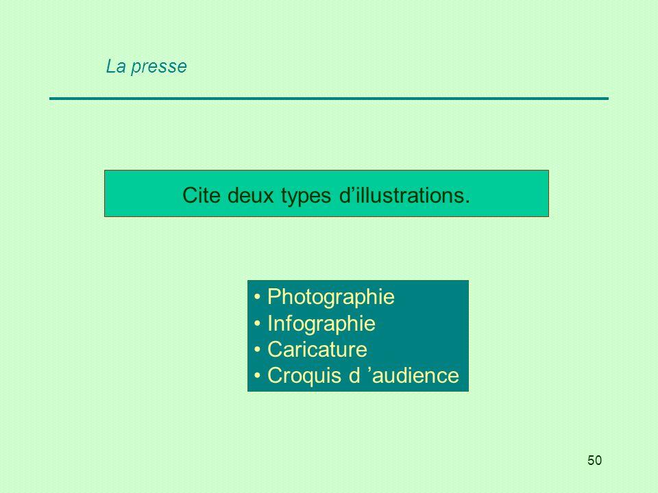 50 Cite deux types dillustrations. Photographie Infographie Caricature Croquis d audience La presse