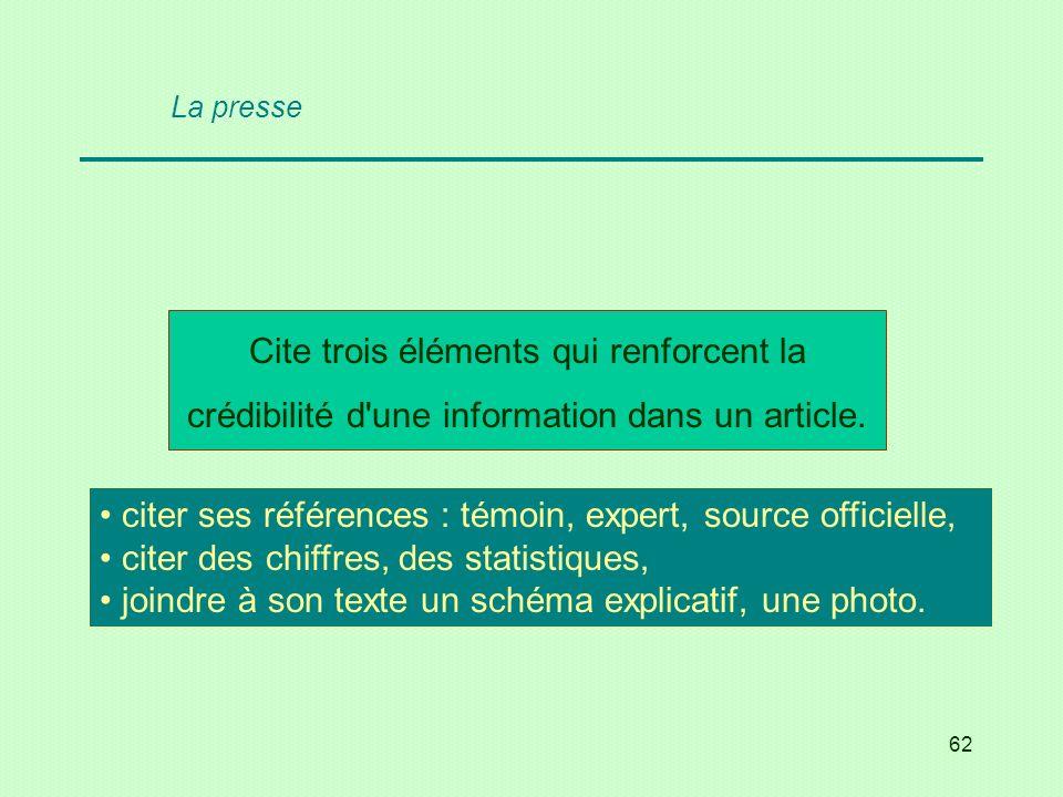 62 Cite trois éléments qui renforcent la crédibilité d'une information dans un article. citer ses références : témoin, expert, source officielle, cite