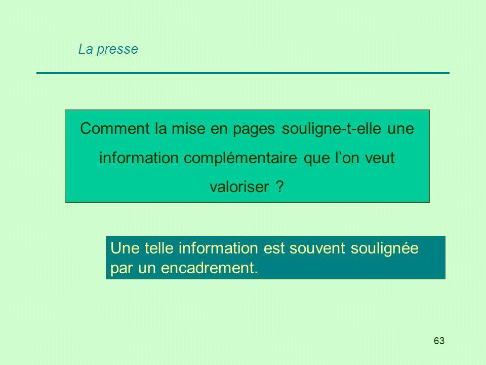 63 Comment la mise en pages souligne-t-elle une information complémentaire que lon veut valoriser ? Une telle information est souvent soulignée par un