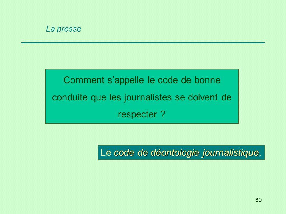 80 Comment sappelle le code de bonne conduite que les journalistes se doivent de respecter ? code de déontologie journalistique Le code de déontologie