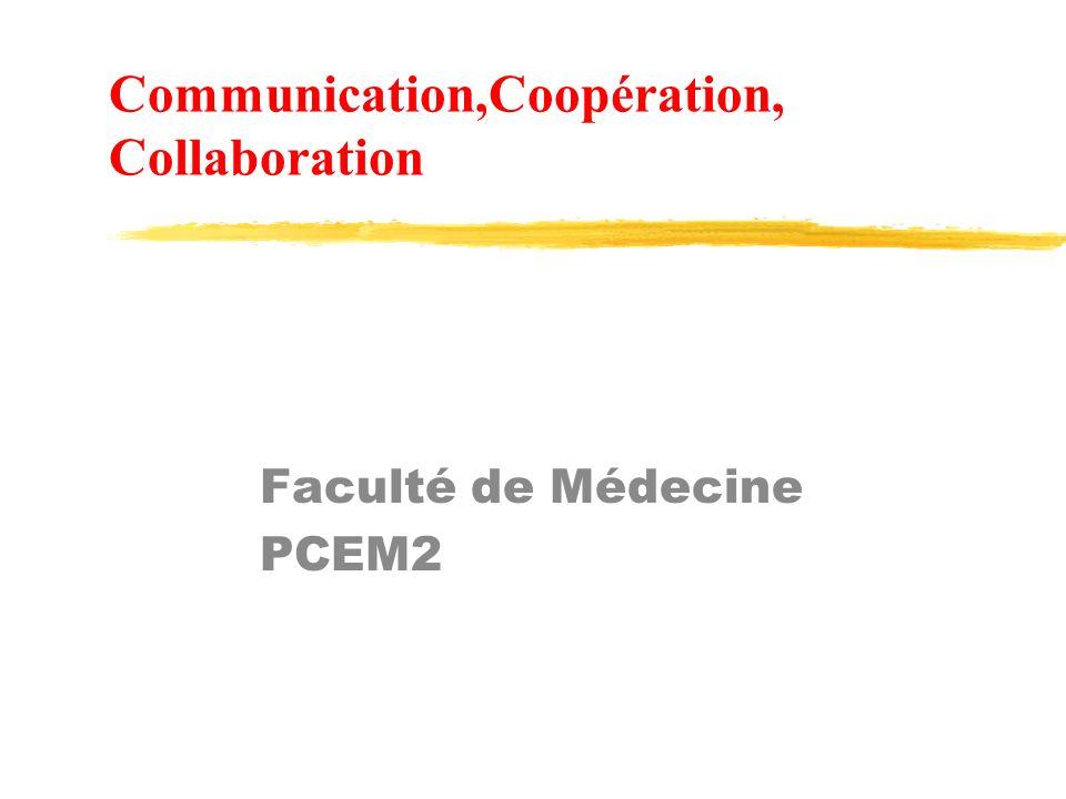 Communication,Coopération, Collaboration Faculté de Médecine PCEM2