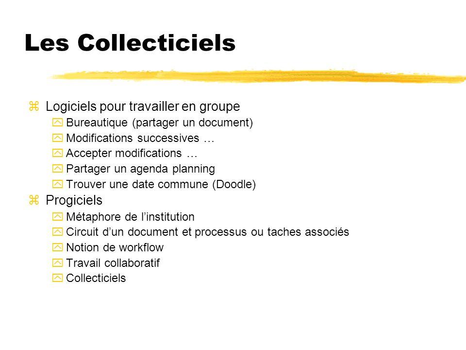 Les Collecticiels zLogiciels pour travailler en groupe yBureautique (partager un document) yModifications successives … yAccepter modifications … yPar