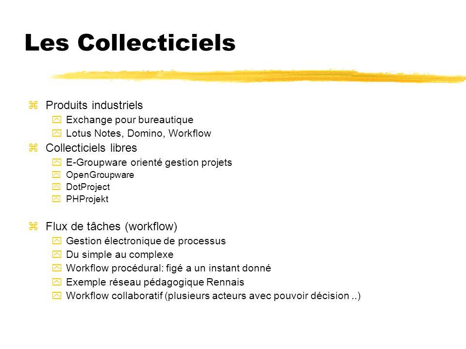 Les Collecticiels zProduits industriels yExchange pour bureautique yLotus Notes, Domino, Workflow zCollecticiels libres yE-Groupware orienté gestion p