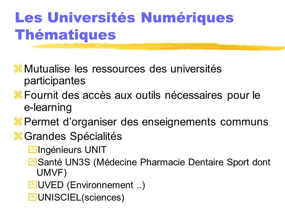 Les Universités Numériques Thématiques zMutualise les ressources des universités participantes zFournit des accès aux outils nécessaires pour le e-lea