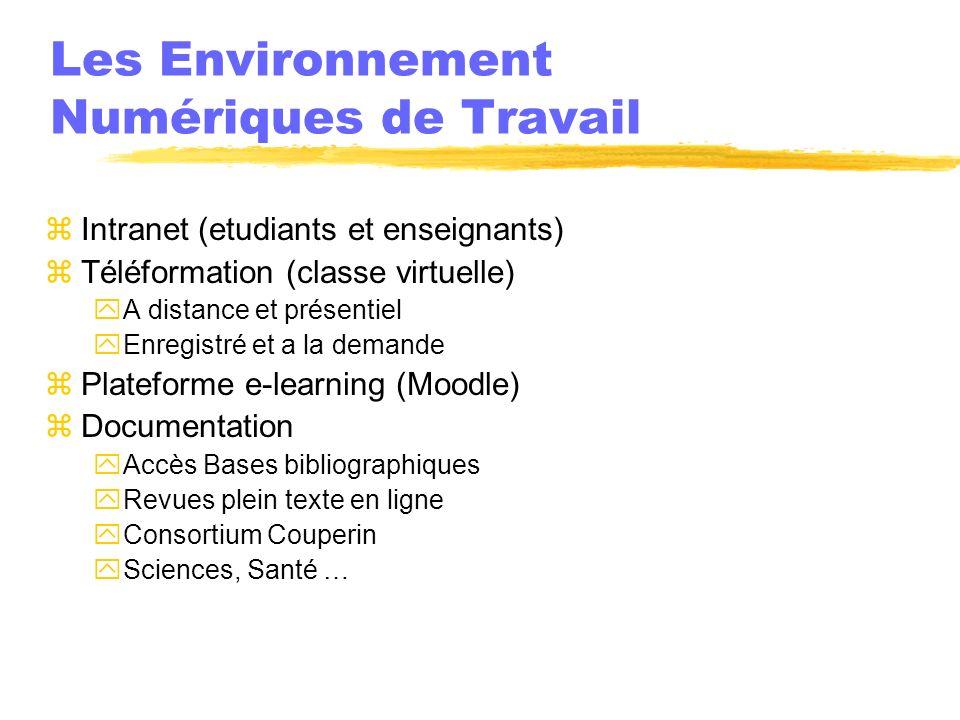 Les Environnement Numériques de Travail zIntranet (etudiants et enseignants) zTéléformation (classe virtuelle) yA distance et présentiel yEnregistré e