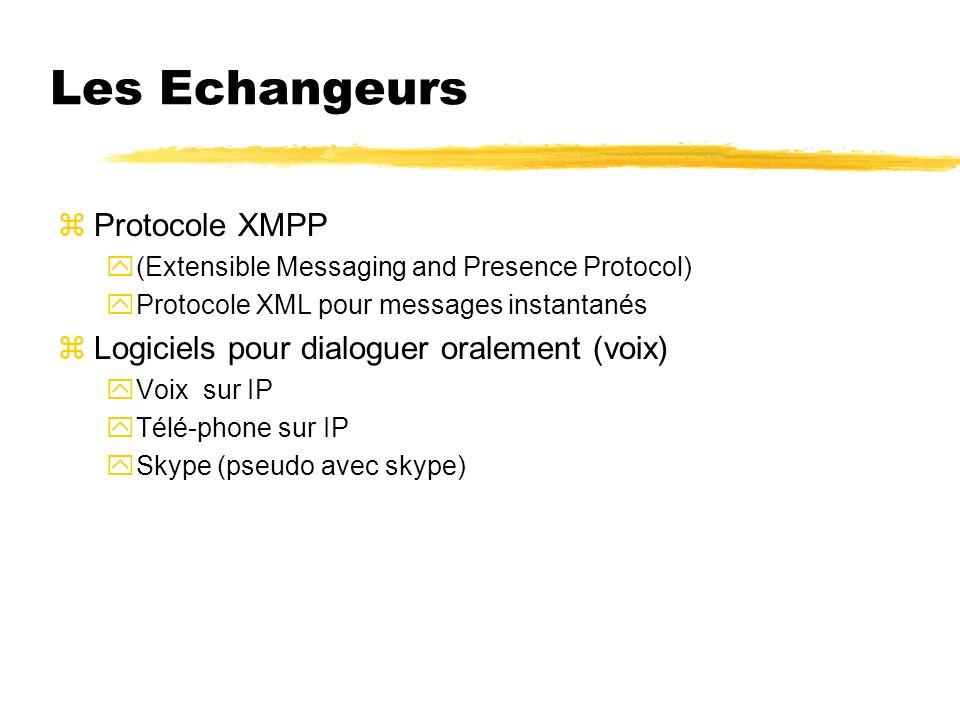 Les Echangeurs zProtocole XMPP y(Extensible Messaging and Presence Protocol) yProtocole XML pour messages instantanés zLogiciels pour dialoguer oralem