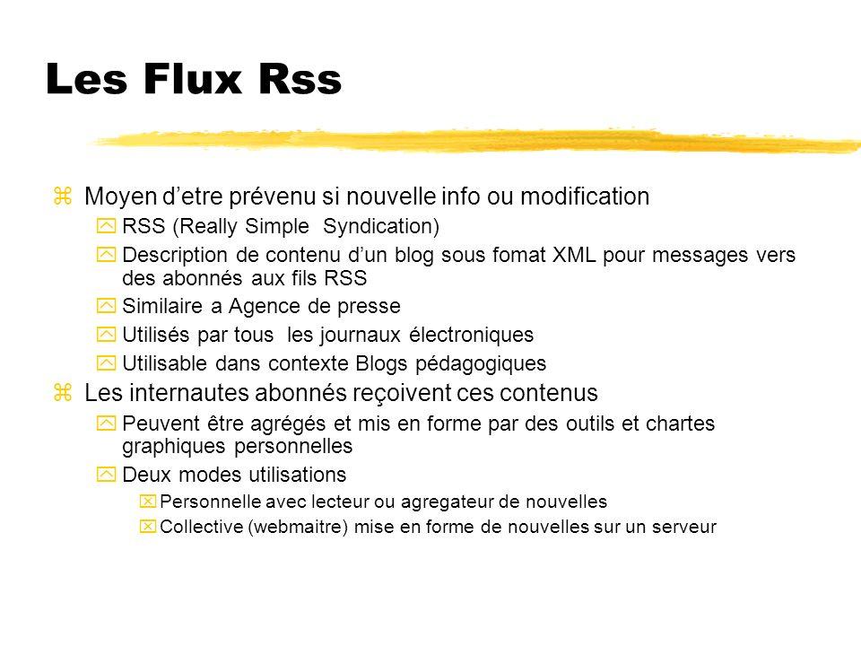 Les Flux Rss zMoyen detre prévenu si nouvelle info ou modification yRSS (Really Simple Syndication) yDescription de contenu dun blog sous fomat XML po