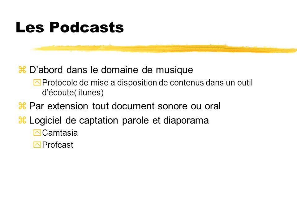 Les Podcasts zDabord dans le domaine de musique yProtocole de mise a disposition de contenus dans un outil découte( itunes) zPar extension tout docume