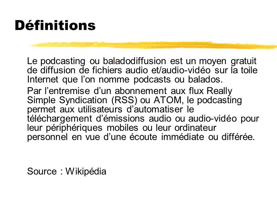 Définitions Le podcasting ou baladodiffusion est un moyen gratuit de diffusion de fichiers audio et/audio-vidéo sur la toile Internet que lon nomme po