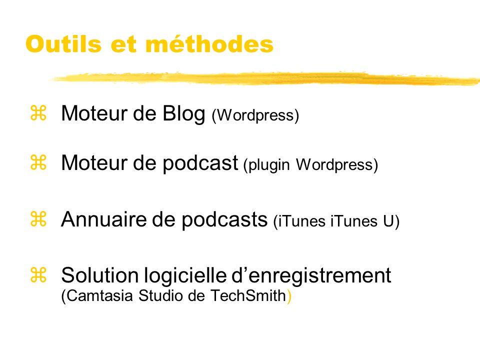 Outils et méthodes zMoteur de Blog (Wordpress) zMoteur de podcast (plugin Wordpress) zAnnuaire de podcasts (iTunes iTunes U) zSolution logicielle denr