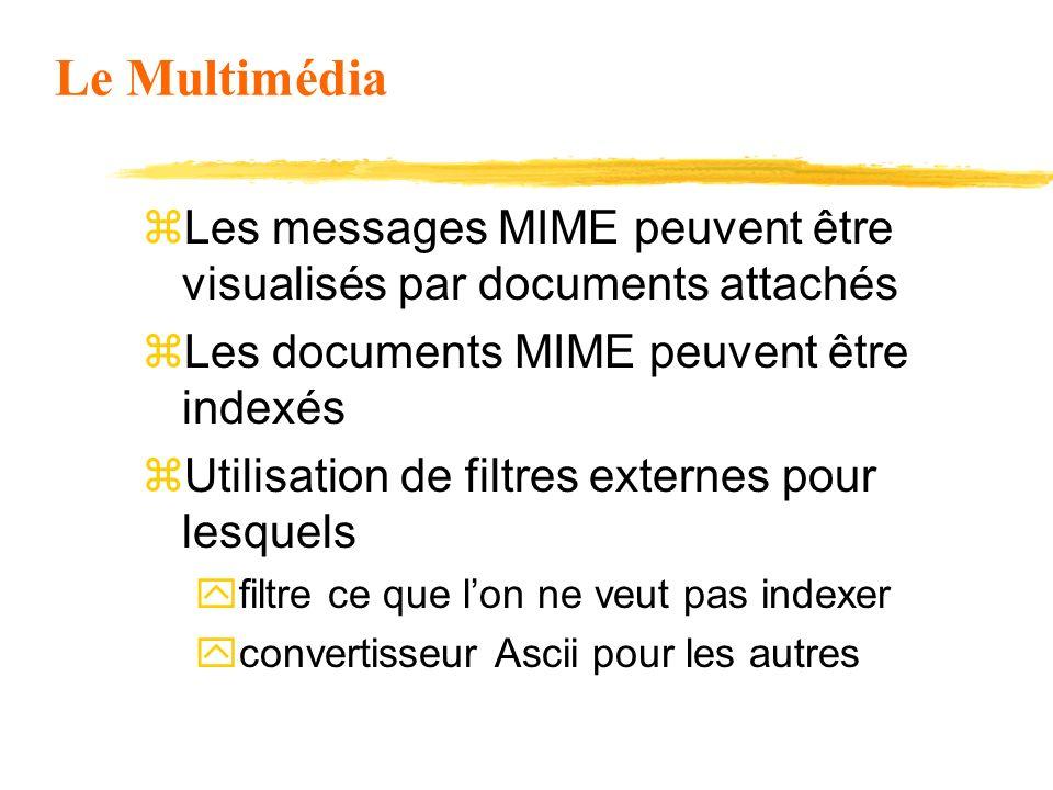 Le Multimédia z Les messages MIME peuvent être visualisés par documents attachés z Les documents MIME peuvent être indexés z Utilisation de filtres ex