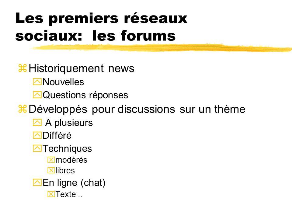 Les premiers réseaux sociaux: les forums zHistoriquement news yNouvelles yQuestions réponses zDéveloppés pour discussions sur un thème y A plusieurs y