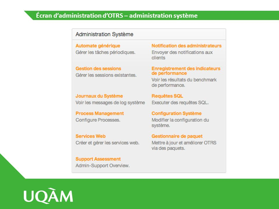 Écran dadministration dOTRS – administration système