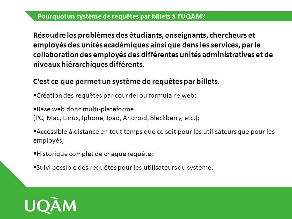 Pourquoi un système de requêtes par billets à lUQAM? Résoudre les problèmes des étudiants, enseignants, chercheurs et employés des unités académiques