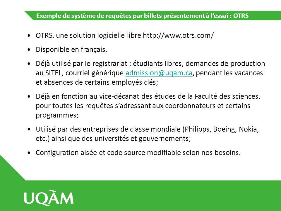 Exemple de système de requêtes par billets présentement à lessai : OTRS OTRS, une solution logicielle libre http://www.otrs.com/ Disponible en françai