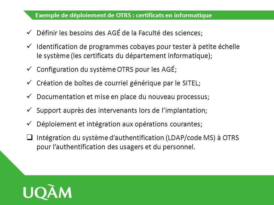 Exemple de déploiement de OTRS : certificats en informatique Définir les besoins des AGÉ de la Faculté des sciences; Identification de programmes coba