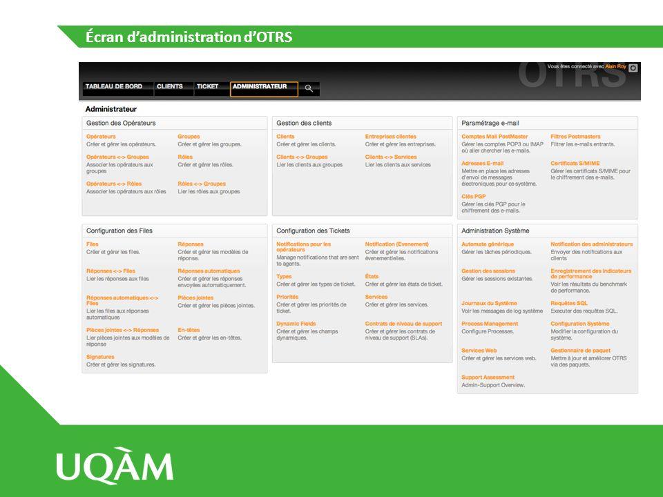 Écran dadministration dOTRS – Gestion des opérateurs Possibilité de configurer les opérateurs dans des groupes; Assignations de rôles que ce soit aux opérateurs ou aux groupes.
