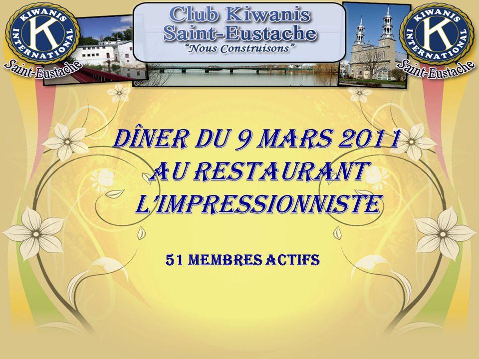 Dîner du 9 mars 2011 AU RESTAURANT lIMPRESSIONNISTE 51 Membres actifs
