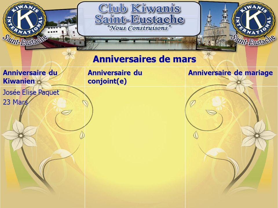 Anniversaires de mars Anniversaire du Kiwanien Anniversaire du conjoint(e) Anniversaire de mariage Josée Elise Paquet 23 Mars