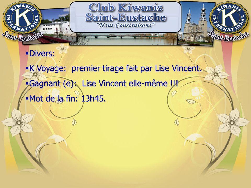 Divers: Divers: K Voyage: premier tirage fait par Lise Vincent.