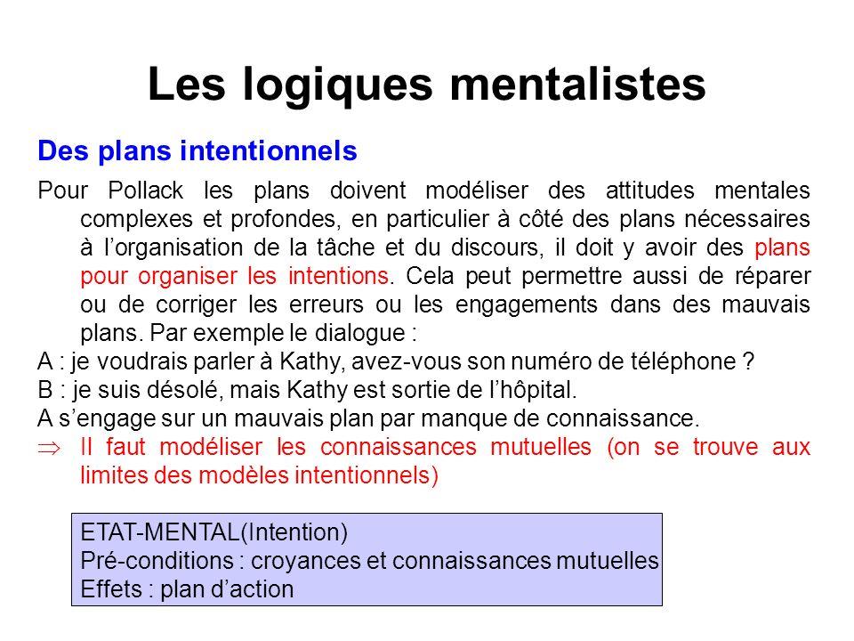 Les logiques mentalistes Des plans intentionnels Pour Pollack les plans doivent modéliser des attitudes mentales complexes et profondes, en particulie