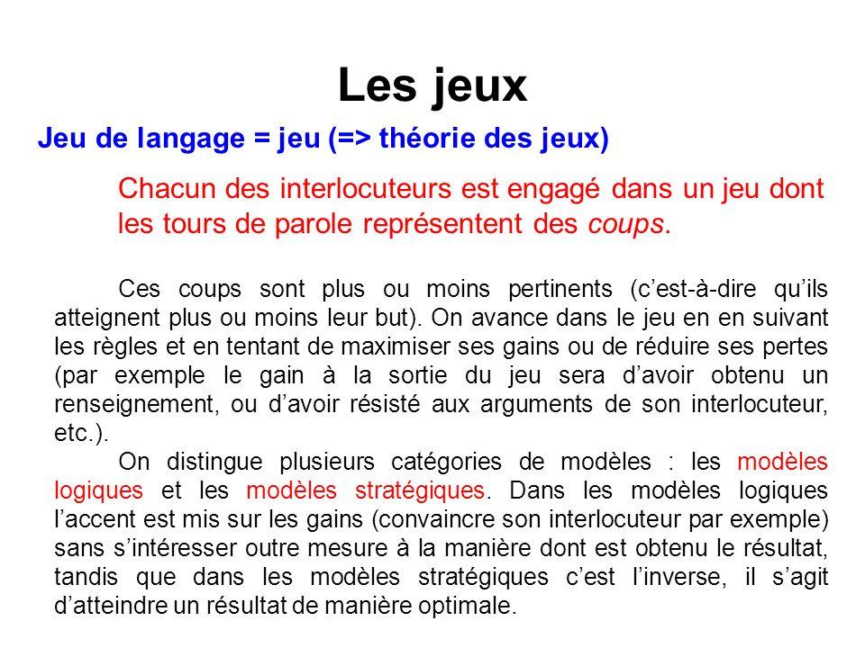 Les jeux Jeu de langage = jeu (=> théorie des jeux) Chacun des interlocuteurs est engagé dans un jeu dont les tours de parole représentent des coups.