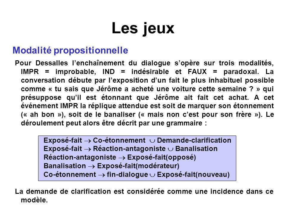 Les jeux Modalité propositionnelle Pour Dessalles lenchaînement du dialogue sopère sur trois modalités, IMPR = improbable, IND = indésirable et FAUX =