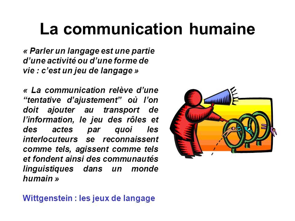 La communication humaine « Parler un langage est une partie dune activité ou dune forme de vie : cest un jeu de langage » « La communication relève du