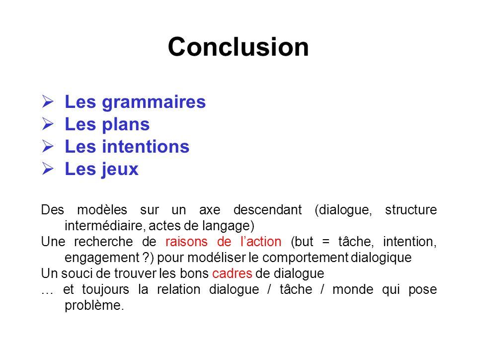 Conclusion Les grammaires Les plans Les intentions Les jeux Des modèles sur un axe descendant (dialogue, structure intermédiaire, actes de langage) Un