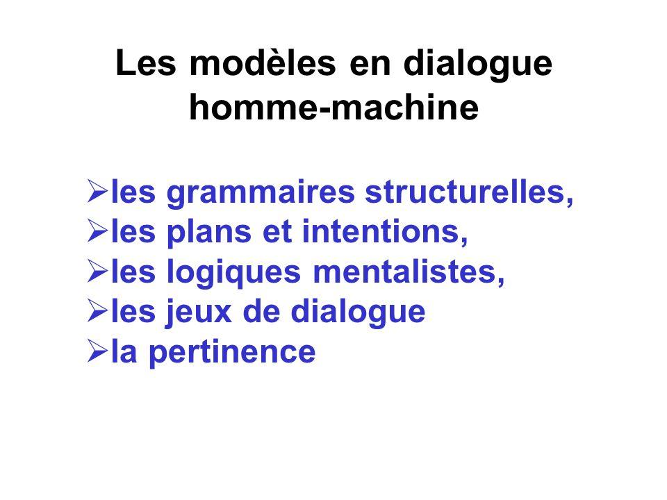 Les modèles en dialogue homme-machine les grammaires structurelles, les plans et intentions, les logiques mentalistes, les jeux de dialogue la pertine