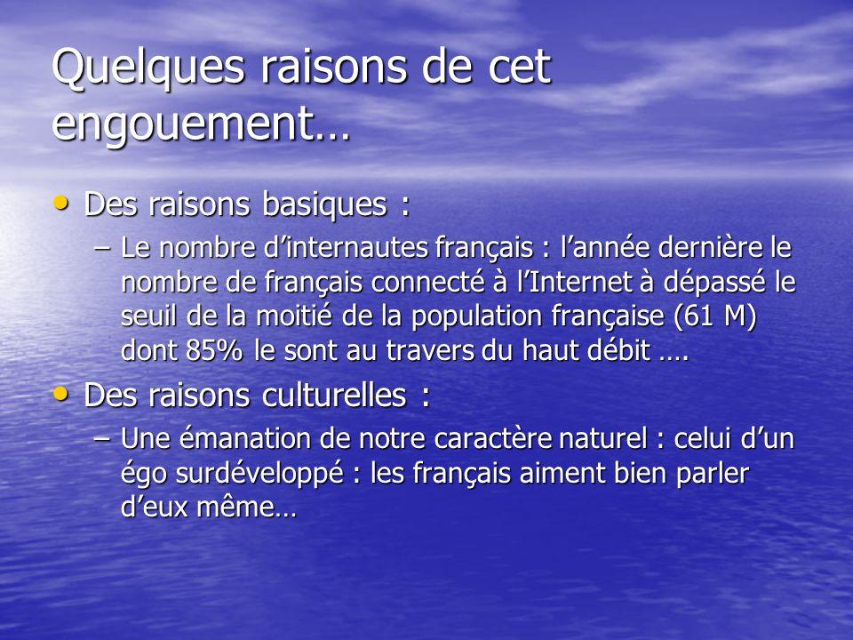 Quelques raisons de cet engouement… Des raisons basiques : Des raisons basiques : –Le nombre dinternautes français : lannée dernière le nombre de français connecté à lInternet à dépassé le seuil de la moitié de la population française (61 M) dont 85% le sont au travers du haut débit ….