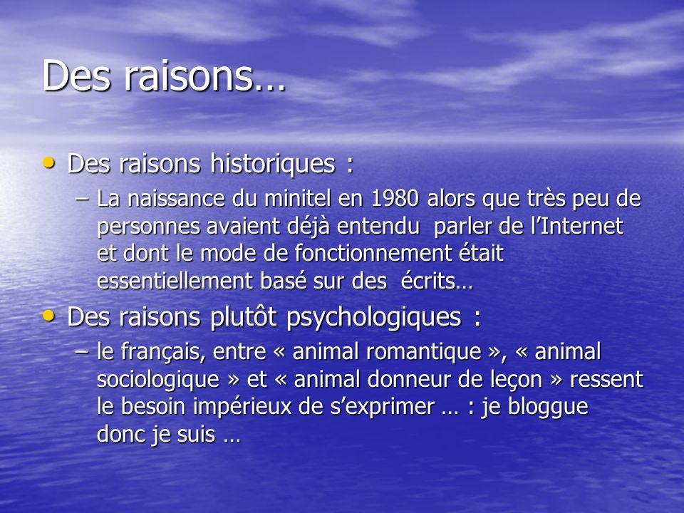 Des raisons… Des raisons historiques : Des raisons historiques : –La naissance du minitel en 1980 alors que très peu de personnes avaient déjà entendu parler de lInternet et dont le mode de fonctionnement était essentiellement basé sur des écrits… Des raisons plutôt psychologiques : Des raisons plutôt psychologiques : –le français, entre « animal romantique », « animal sociologique » et « animal donneur de leçon » ressent le besoin impérieux de sexprimer … : je bloggue donc je suis …