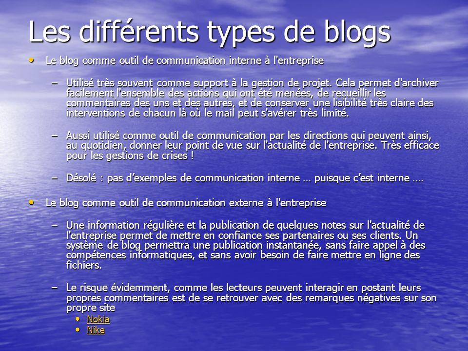 Les différents types de blogs Le blog comme outil de communication interne à l entreprise Le blog comme outil de communication interne à l entreprise –Utilisé très souvent comme support à la gestion de projet.
