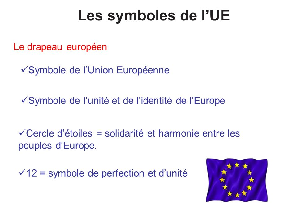 Les symboles de lUE Le drapeau européen Symbole de lUnion Européenne Cercle détoiles = solidarité et harmonie entre les peuples dEurope. 12 = symbole