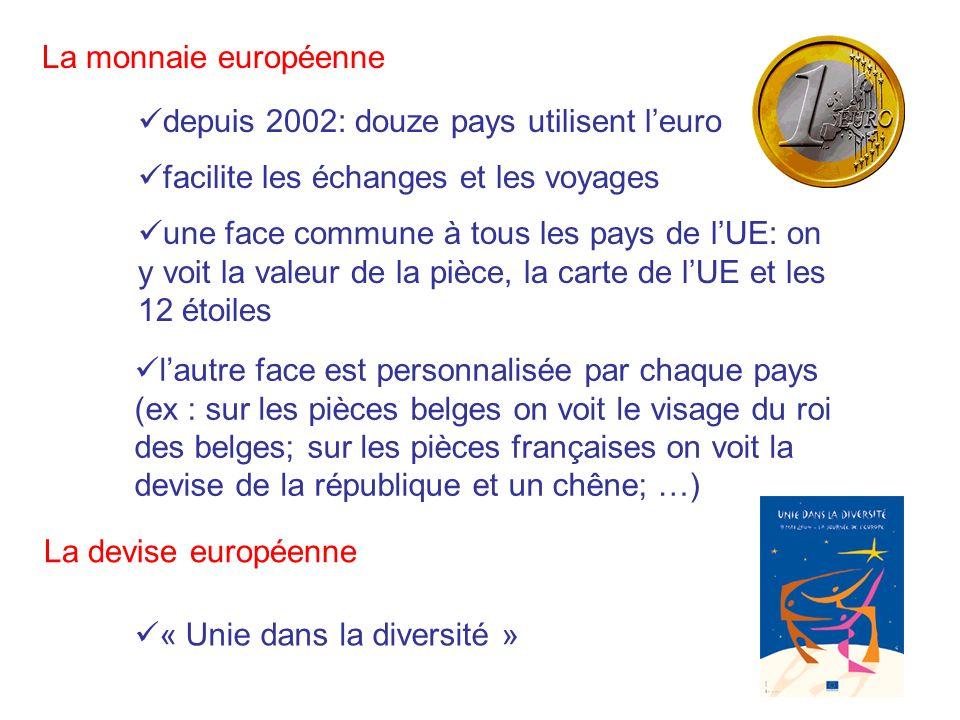 La monnaie européenne depuis 2002: douze pays utilisent leuro une face commune à tous les pays de lUE: on y voit la valeur de la pièce, la carte de lU