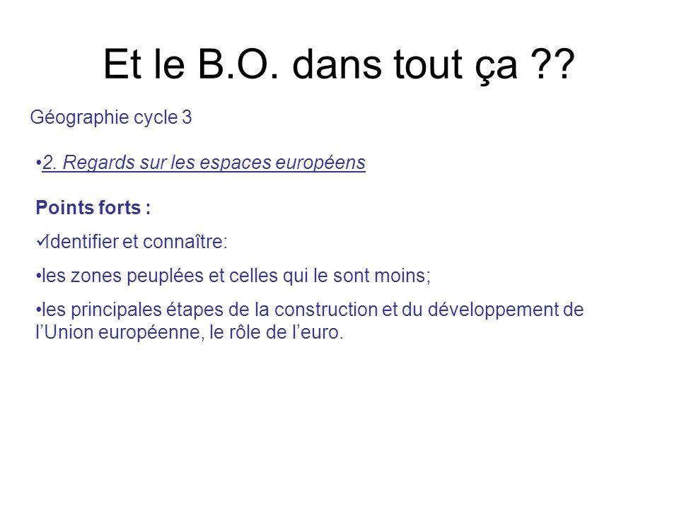 Et le B.O. dans tout ça ?? 2. Regards sur les espaces européens Géographie cycle 3 Points forts : Identifier et connaître: les zones peuplées et celle