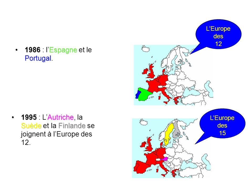 1986 Espagne Portugal1986 : lEspagne et le Portugal. LEurope des 12 1995 Autriche SuèdeFinlande1995 : LAutriche, la Suède et la Finlande se joignent à