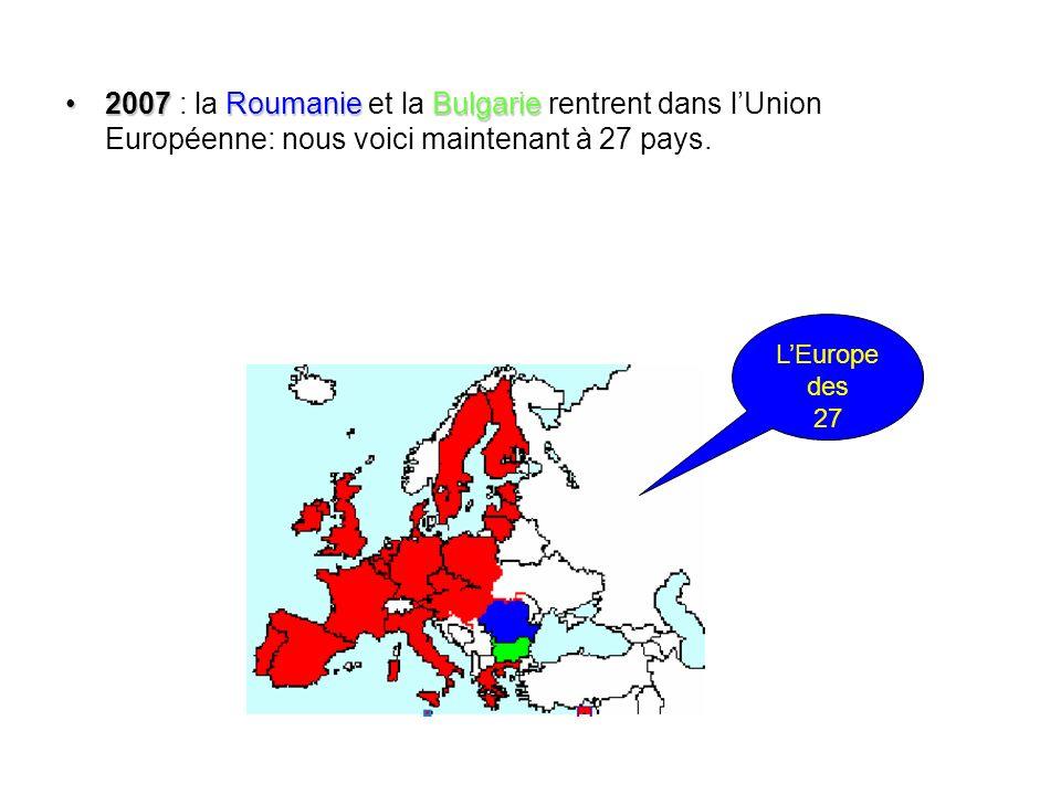 2007 RoumanieBulgarie2007 : la Roumanie et la Bulgarie rentrent dans lUnion Européenne: nous voici maintenant à 27 pays. LEurope des 27