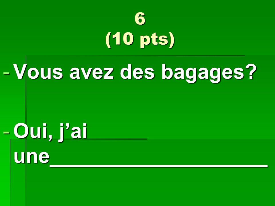 6 (10 pts) -Vous avez des bagages? -Oui, jai une___________________