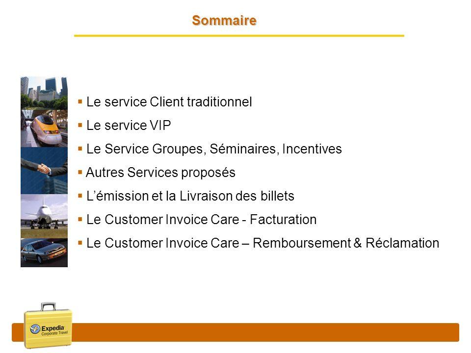 Sommaire Le service Client traditionnel Le service VIP Le Service Groupes, Séminaires, Incentives Autres Services proposés Lémission et la Livraison d