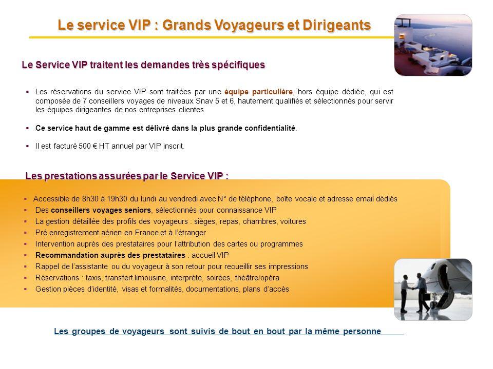 Les réservations du service VIP sont traitées par une équipe particulière, hors équipe dédiée, qui est composée de 7 conseillers voyages de niveaux Sn