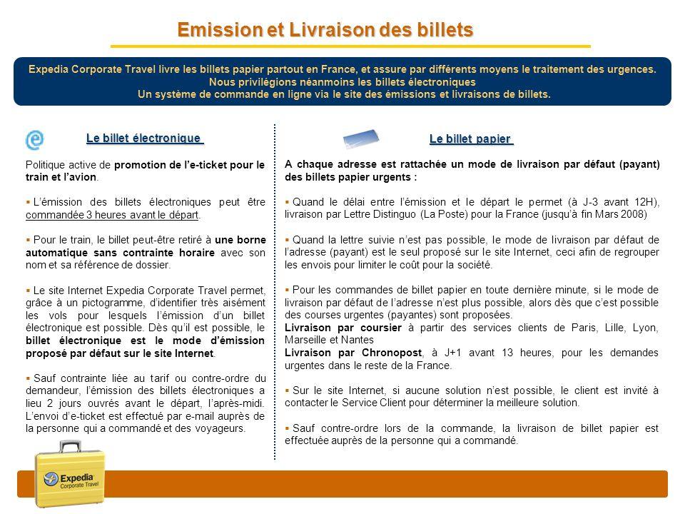Expedia Corporate Travel livre les billets papier partout en France, et assure par différents moyens le traitement des urgences. Nous privilégions néa