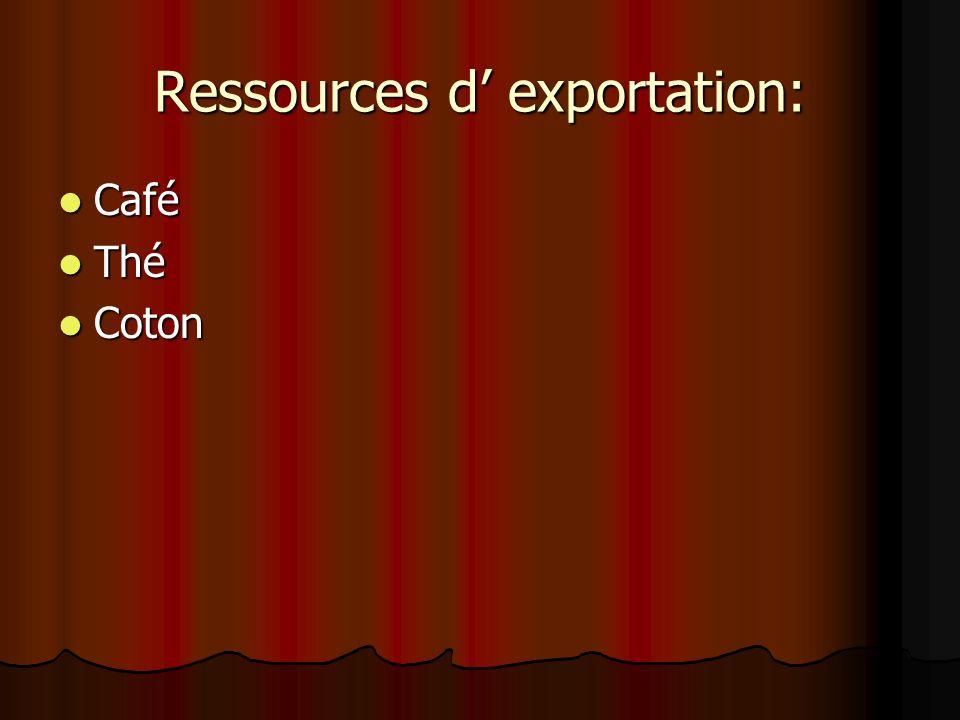 Ressources d exportation: Café Café Thé Thé Coton Coton