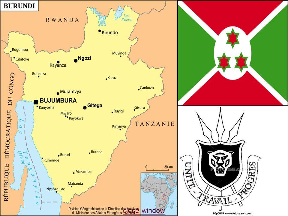 Burundi Superficie:28.734 Km² Superficie:28.734 Km² Population: 8.691.005 habitants Population: 8.691.005 habitants Densité: 265 habitants/ Km² Densité: 265 habitants/ Km²